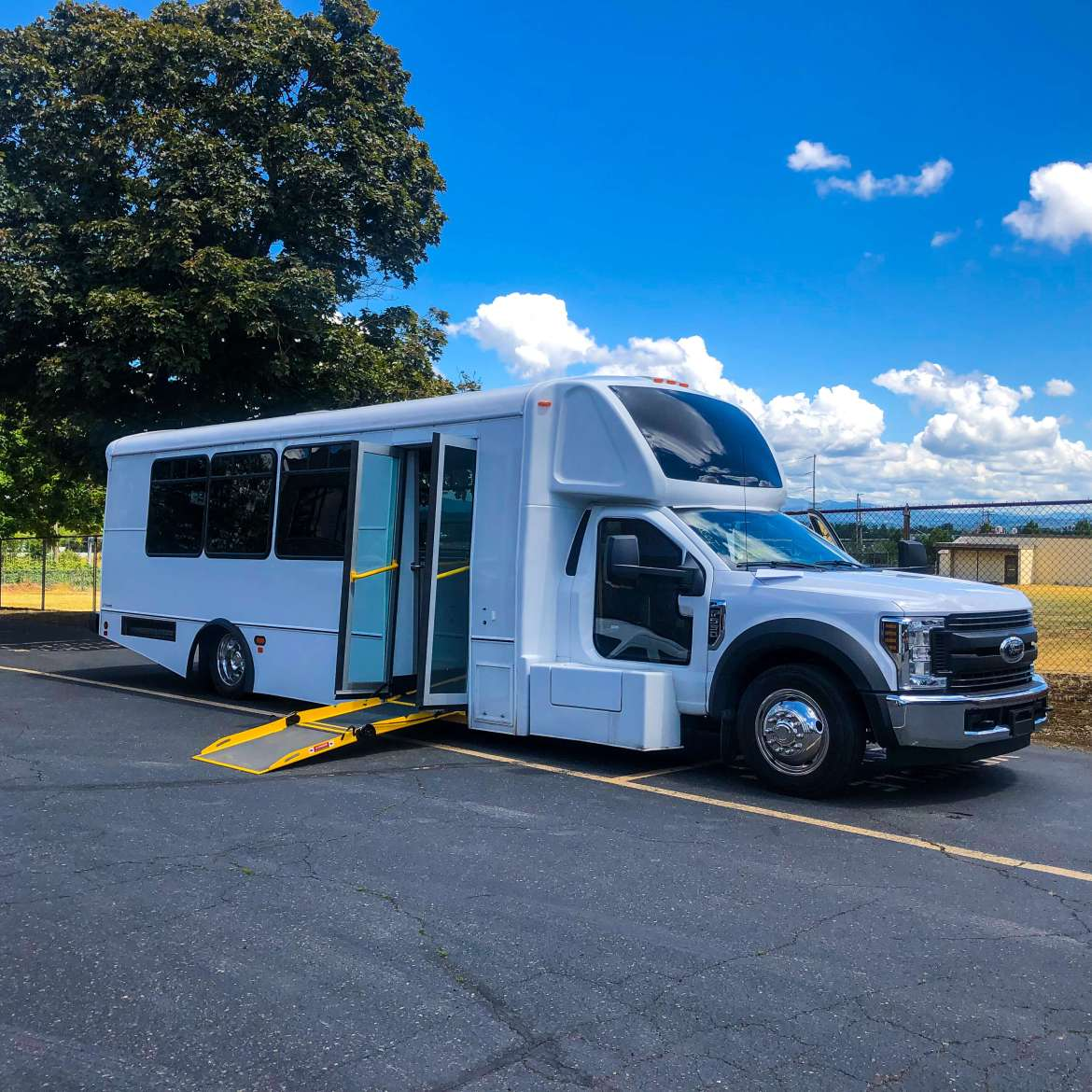 a beautifully designed Champion low floor bus can lower for safe and secure wheelchair access