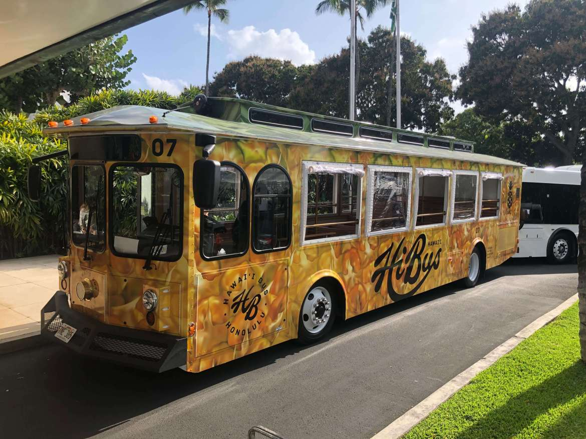 pacific club honolulu bus trolley headed for waikiki